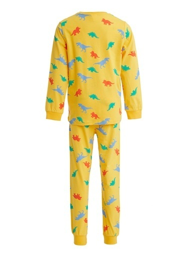 DeFacto Erkek Çocuk Dinozor Baskılı Pijama Takım Sarı